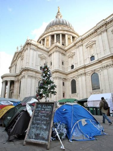 Demonstrators have camped outside St Paul's Cathedral since October